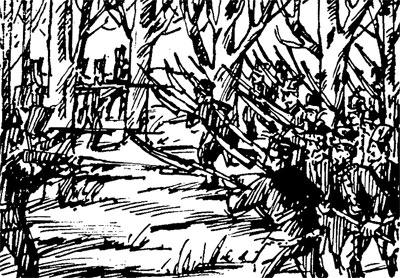 Rycina przedstawiająca bitwę.