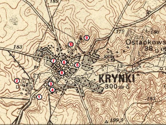 Mapa Krynek z 1931 r. z zaznaczonymi zabytkami.