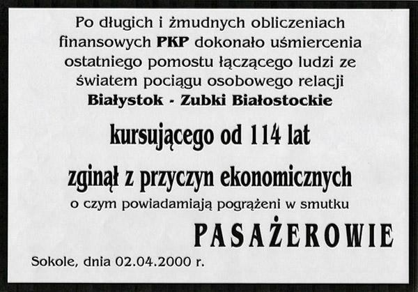 Klepsydra uśmiercenia ostatniego pomostu łączącego ludzi ze światem pociągu osobowego, która zawisła na pociągu relacji Białystok – Zubki B. 2.04.2000 r. Fot. A. Kasperowicz, 2000 r.