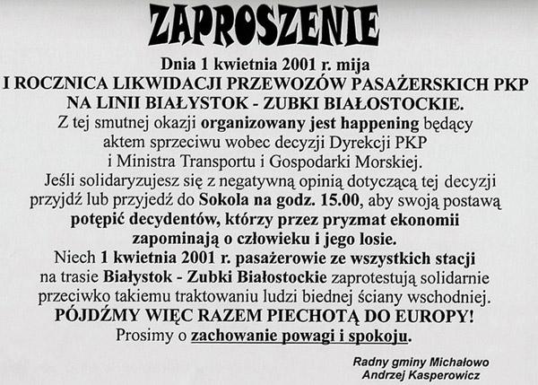 Zaproszenie na happening w I rocznicę likwidacji pociągów  pasażerskich na trasie kolejowej Białystok – Zubki B. Fot. A. Kasperowicz, 2001 r.
