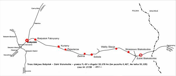 Mapa linii kolejowej Białystok - Zubki Białostockie