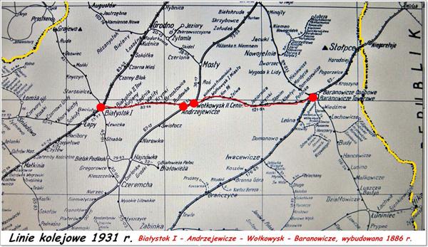 Mapa lini kolejowej Białystok - Baranowicze.